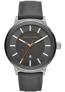 AX Armani Exchange Men's Maddox Gray Leather Strap Watch 46mm