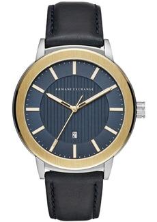 AX Armani Exchange Men's Maddox Navy Leather Strap Watch 46mm
