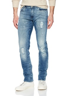 A|X Armani Exchange Men's Mid-Rise Paint Splattered 5 Pocket Jeans