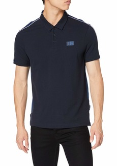 A|X Armani Exchange Men's Minimal Logo Polo Shirt with Colorblocked Back Navy with Sargasso sea XL