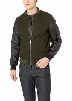 A|X Armani Exchange Men's Mixed Fabric Bomber Jacket peat XS