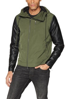 A|X Armani Exchange Men's Mixed Fabrication Hooded Zip up Jacket  L