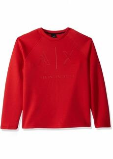A|X Armani Exchange Men's Monochromatic Pullover Sweatshirt HIGH Risk RED L