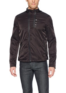 A|X Armani Exchange Men's Moto Neck Front Zip Pu Coating Jacket  M