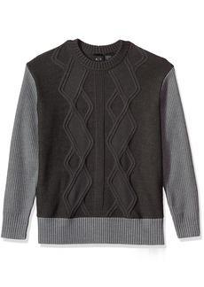 A X Armani Exchange Men's Multi Knit Oversized Pullover Sweater Body DK GREY/B30 HTR