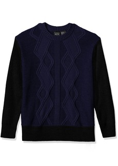 A|X Armani Exchange Men's Multi Knit Oversized Pullover Sweater Body DK Blue/Sleeves