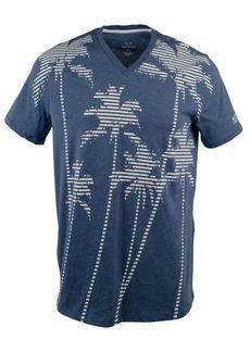 A|X Armani Exchange Men's Multi Striped Palm Tree tee Brooks b Heather Blue XXL