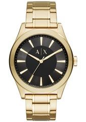AX Armani Exchange Men's Nico Gold-Tone Stainless Steel Bracelet Watch 44mm AX2328