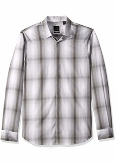 A|X Armani Exchange Men's Ombre Plaid Shirt Grey S