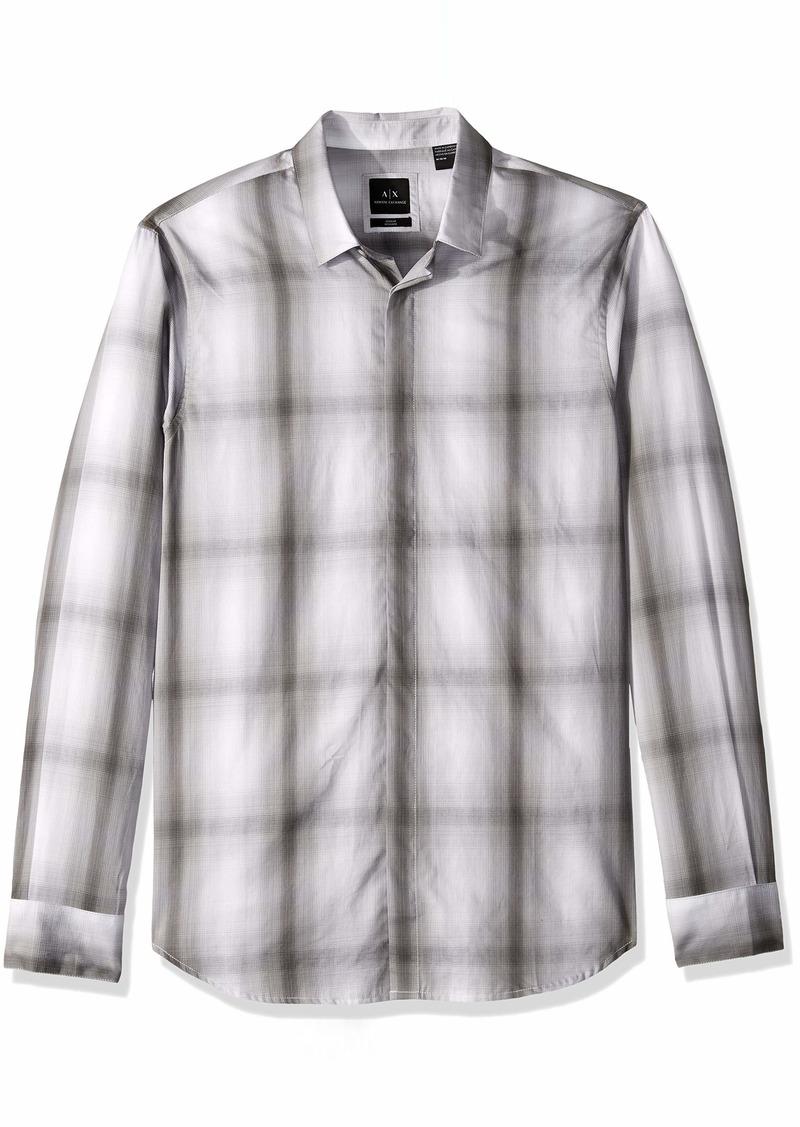 A|X Armani Exchange Men's Ombre Plaid Shirt Grey S