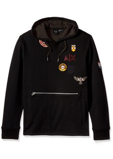 A|X Armani Exchange Men's Oversized Hoodie with Vintage Inspired Patches