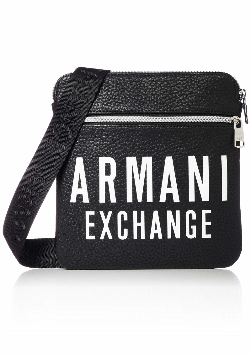 A X Armani Exchange Men's Oversized LogoLeather Small Flat Crossbody Bag black