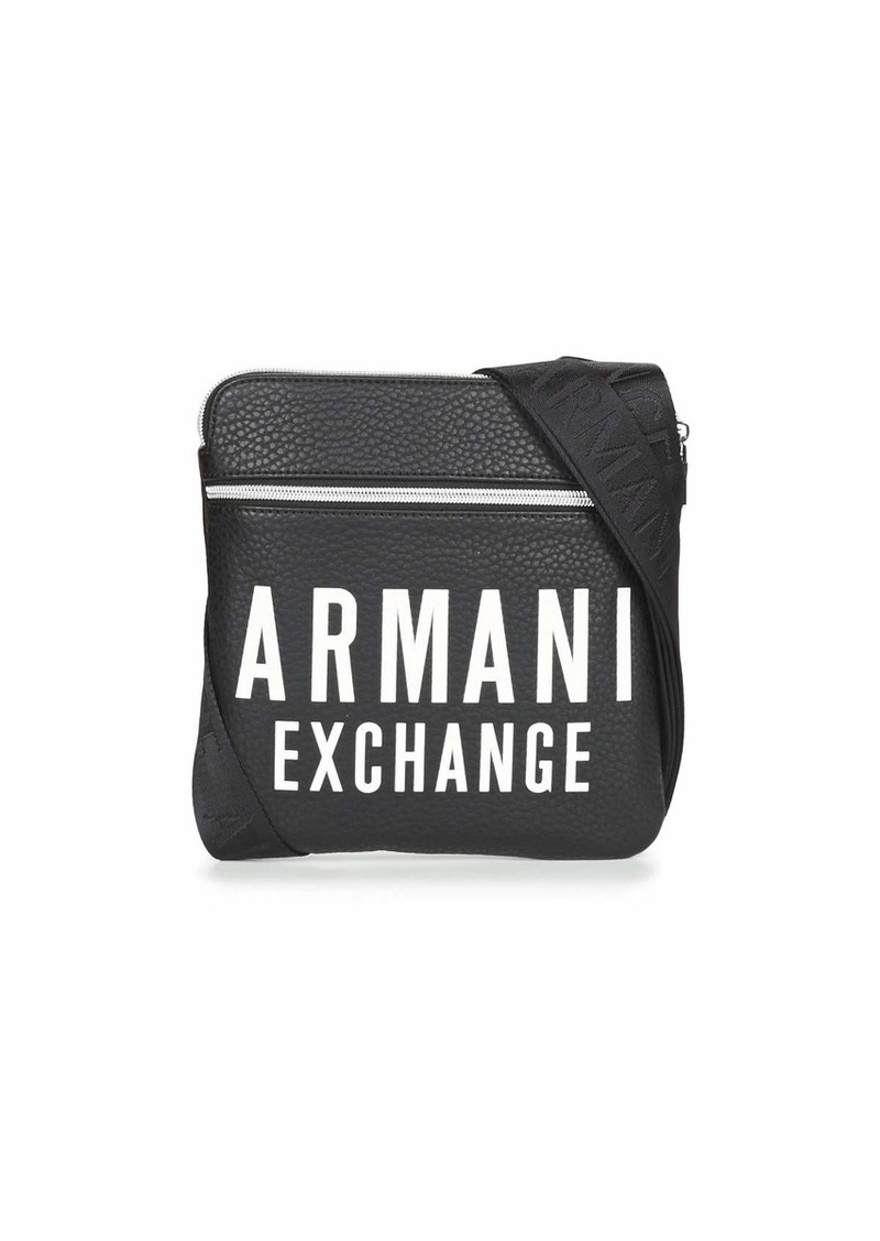 A|X Armani Exchange Men's Oversized LogoLeather Small Flat Crossbody Bag black