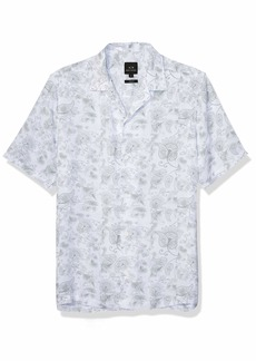 A|X Armani Exchange Men's Paisley Short Sleeve Button Down Shirt White M