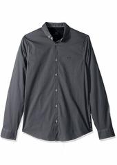 A|X Armani Exchange Men's Patterned Long-Sleeve Cotton Button Down  S