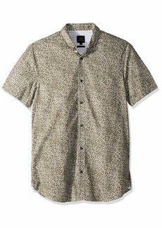 A|X Armani Exchange Men's Patterned Short-Sleeve Cotton Button Down Castor Gray SHANGAI M