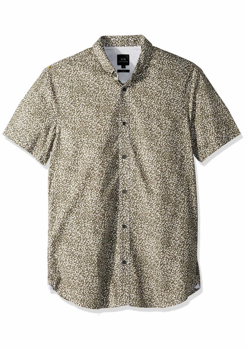 A|X Armani Exchange Men's Patterned Short-Sleeve Cotton Button Down Castor Gray SHANGAI M