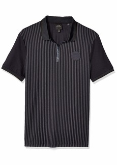 A|X Armani Exchange Men's Pin Stripe Short Sleeve Polo Shirt Pinstripe BS Navy/WH M