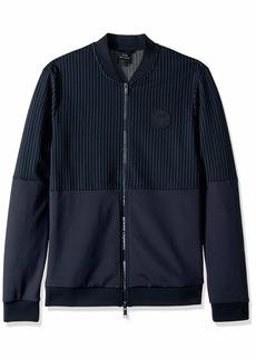 A|X Armani Exchange Men's Pin Striped Zip up Sweatshirt Pinstripe BS Navy/WH M