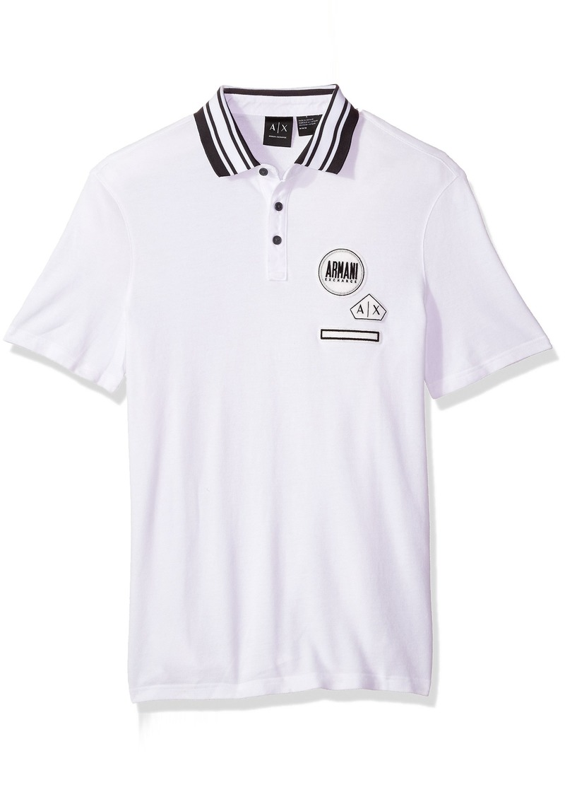 95f11c51 A|X Men's Pique Polo With Knit Collar and Patch Details