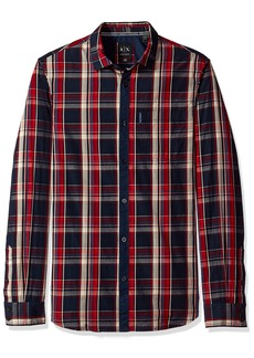 A|X Armani Exchange Men's Plaid Long Sleeve Button Down Shirt