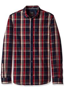 A|X Armani Exchange Men's Plaid Long Sleeve Button Down Shirt Blue RED Macro Check