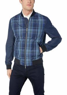 A|X Armani Exchange Men's Plaid Long Sleeve Zip up Jacket MD.Blue Tartan W/SOL L