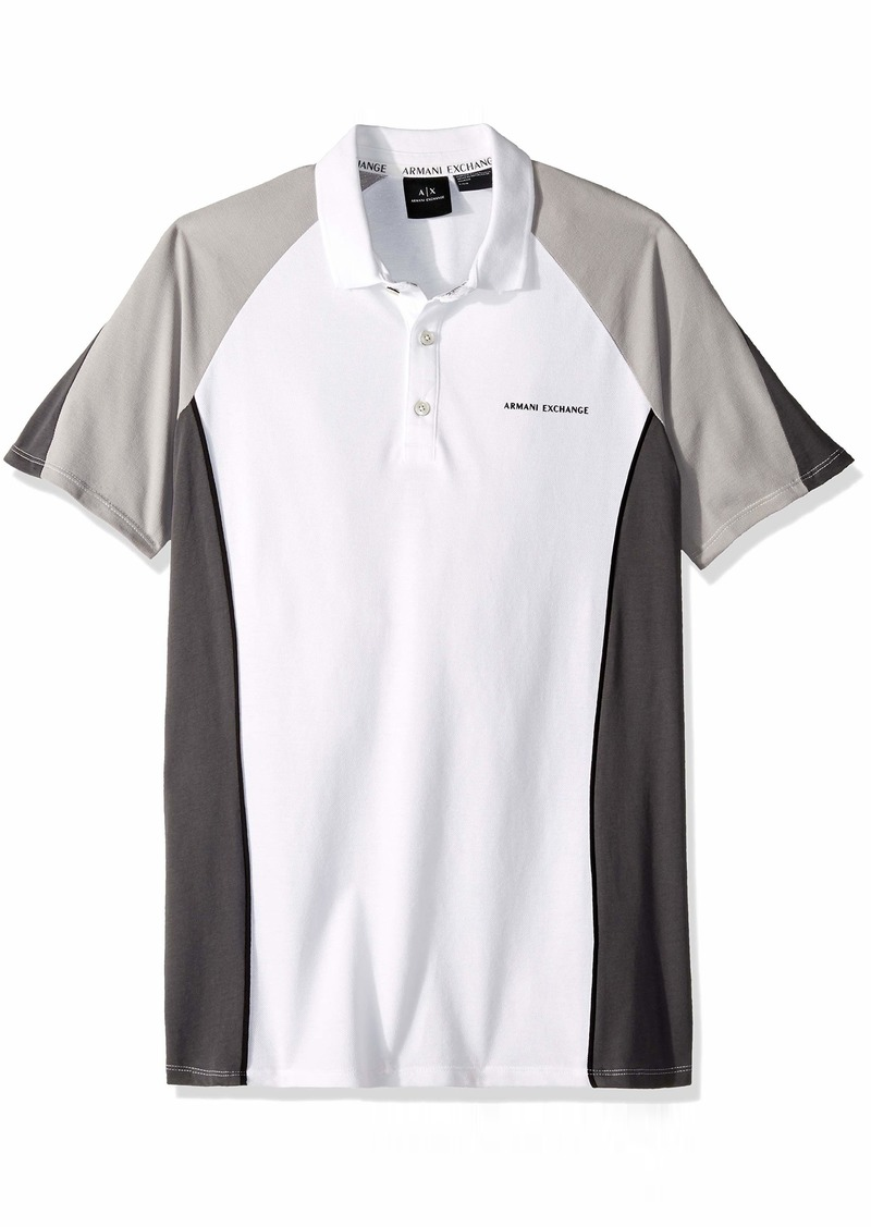 A|X Armani Exchange Men's Polo Brush White/Magnet/ALLO XS