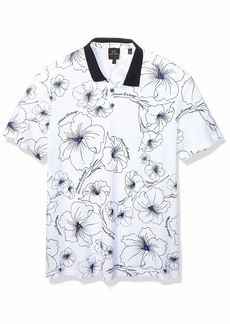 A|X Armani Exchange Men's Polo Shirt Tropical Flowers BS White M