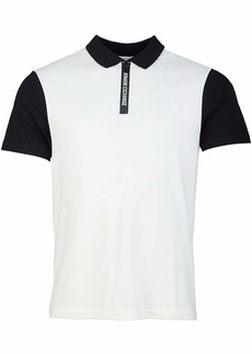 A|X Armani Exchange Men's Polo Shirt with Colorblocked Collar Sleeve and Logo Zipper White with Black M