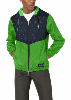 A|X Armani Exchange Men's Polyester Hooded Zip-up Jacket Navy Outline W/CL.GR XL