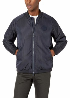 A|X Armani Exchange Men's Polyester Pinstripe Zip-up Jacket Navy S