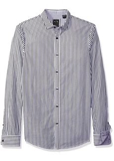A|X Armani Exchange Men's Poplin Long Sleeve Button Up Woven