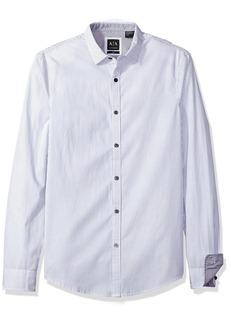 A|X Armani Exchange Men's Poplin Long Sleeve Button up Woven DK Grey Stripe