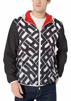 A|X Armani Exchange Men's Reversible Hooded Zip-up Jacket WHT POPLOGO W/Black XL