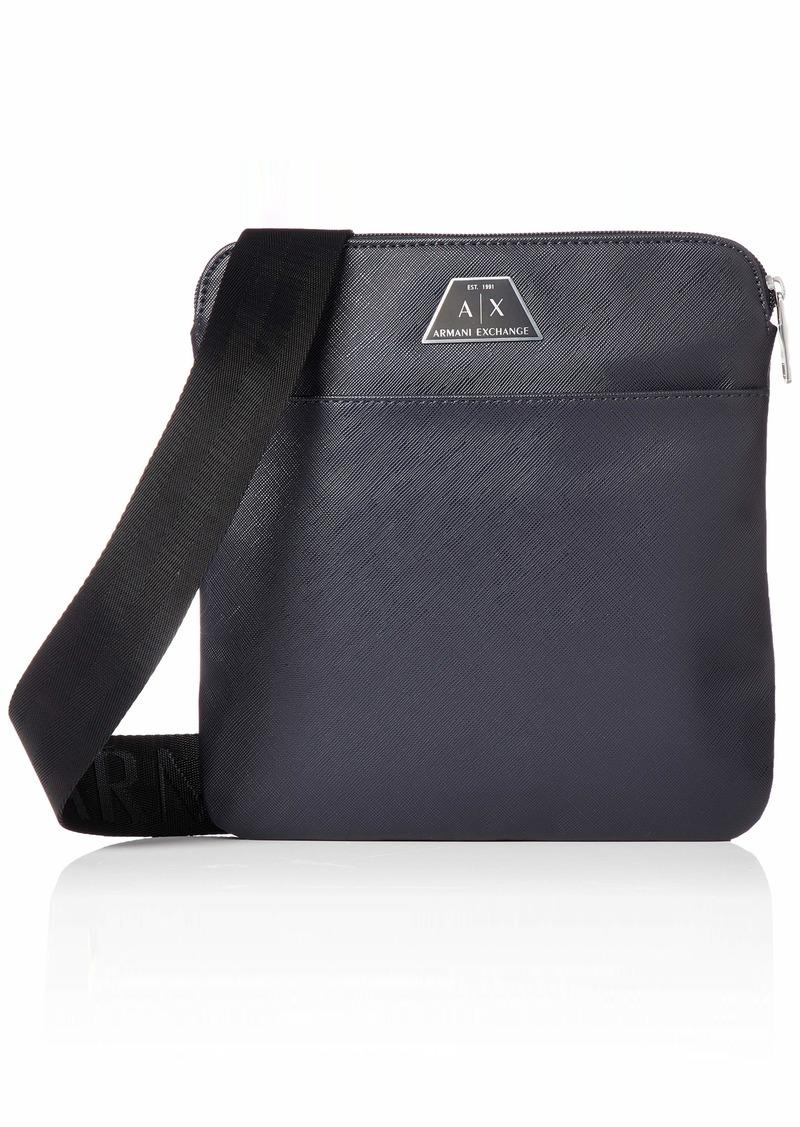 A|X Armani Exchange Men's Scattered Logo Print Small Crossbody Bag navy
