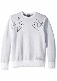 A|X Armani Exchange Men's Sea Creature Pull Over Sweater White/Out.Navy L
