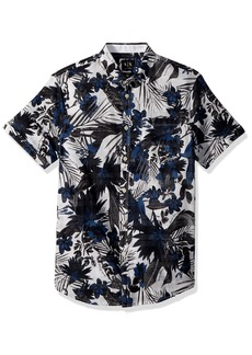 A X Armani Exchange Men's Short Sleeve abstrace Printed Shirt  M