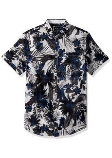 A|X Armani Exchange Men's Short Sleeve Abstrace Printed Shirt  XXL