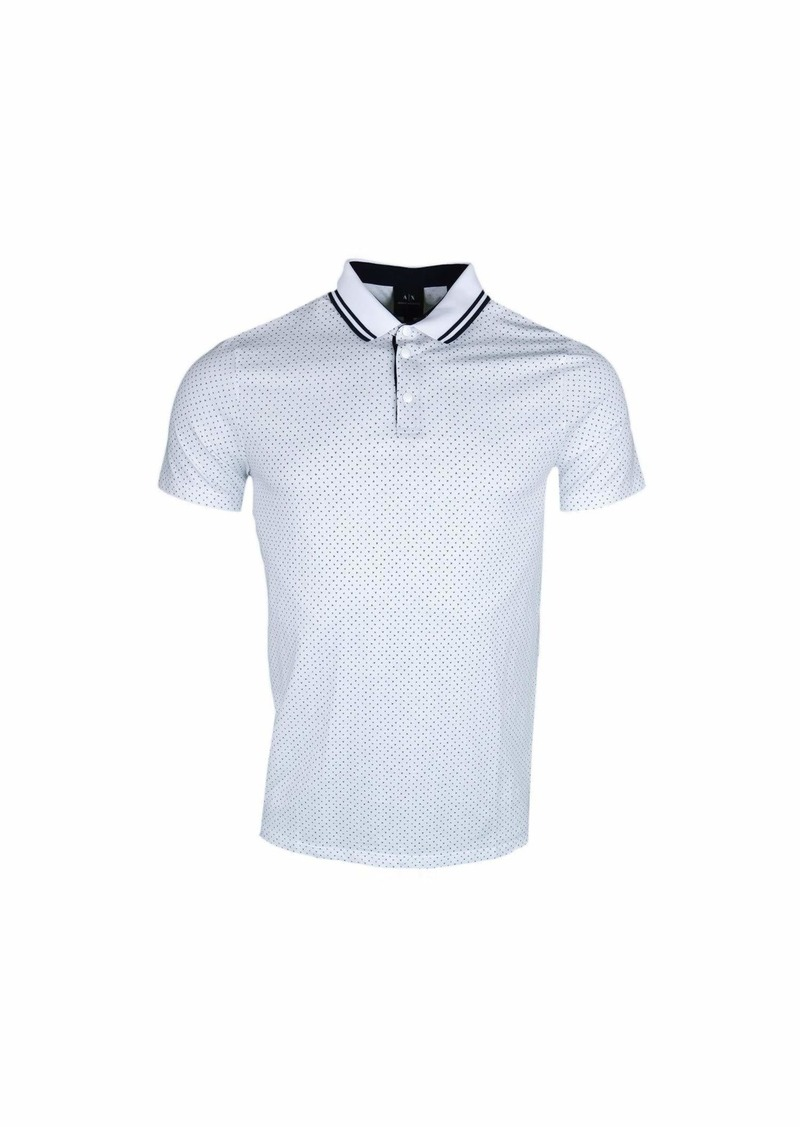 A|X Armani Exchange Men's Short-Sleeve AX Logo Polo Shirt Mix O BS Whit S