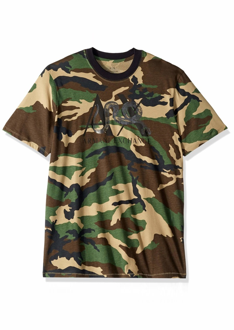 A|X Armani Exchange Men's Short Sleeve Camoflauge T-Shirt Green CAMO M