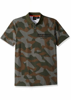 A|X Armani Exchange Men's Short-Sleeve Camouflage Print Polo Shirt camo BS Green M