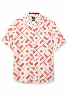 A|X Armani Exchange Men's Short-Sleeve Collared Button Down A- A-O POPLOGO BS.H.R.R M