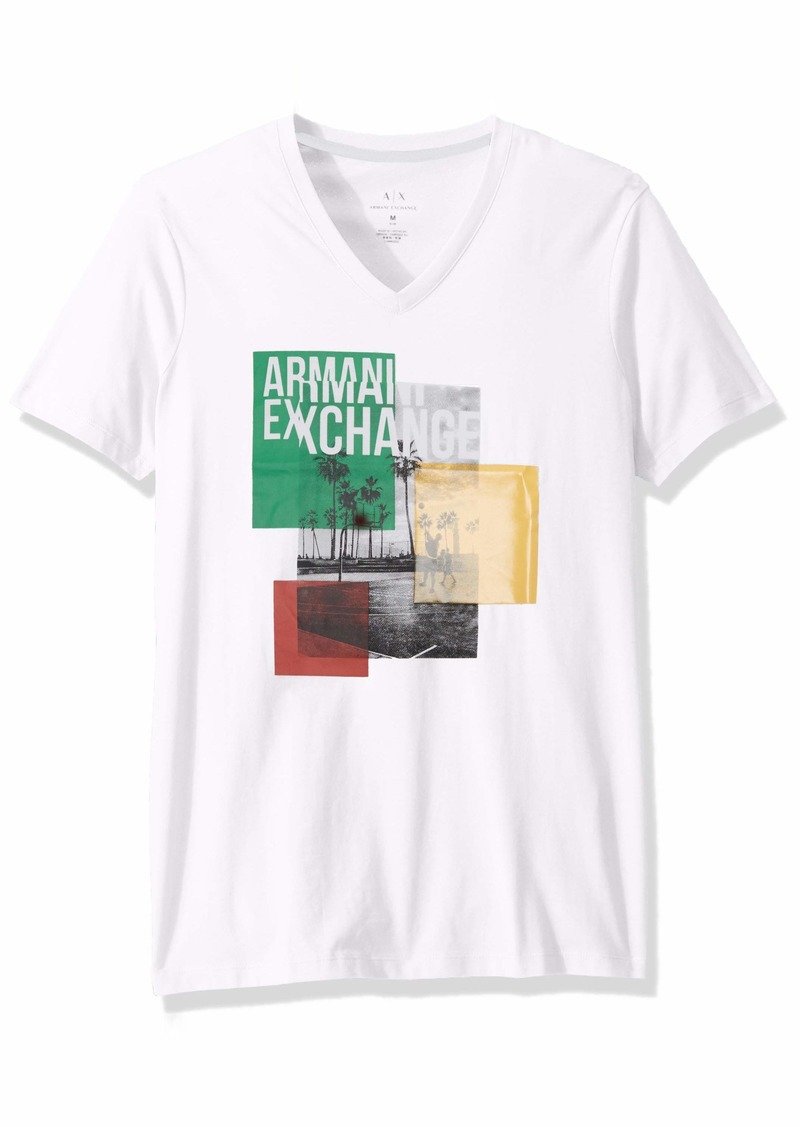 A|X Armani Exchange Men's Short Sleeve Colorblocked Graphic Image T-Shirt  M