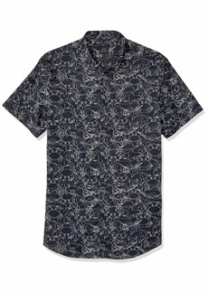 A|X Armani Exchange Men's Short-Sleeve Cotton Button Down A- A-O FRITTOMISTO BS N M