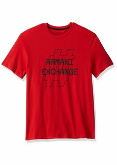 A|X Armani Exchange Men's Short Sleeve Crew Neck  Graphic Logo T-Shirt HIGH Risk RED L