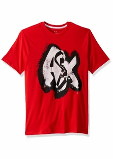 A|X Armani Exchange Men's Short Sleeve Graffiti Graphic T-Shirt HIGH Risk RED L