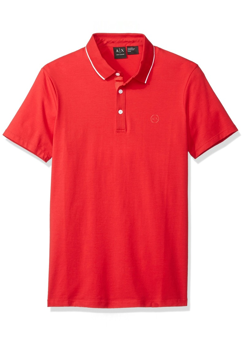 A|X Armani Exchange Men's Short Sleeve Jersey Knit Polo RED