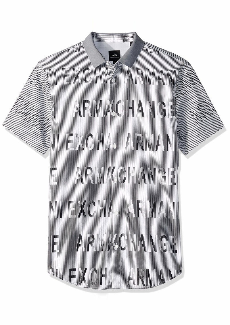 A|X Armani Exchange Men's Short-Sleeve Logo Cotton Button Down  XL