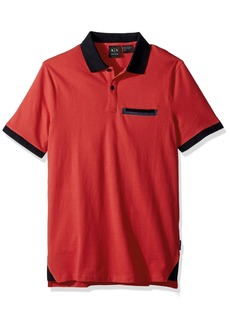 A|X Armani Exchange Men's Short Sleeve Polo Shirt with Back Logo Absolute red M